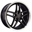 C6Z06 Style Deep Dish Corvette Wheels (Set): Black w/Machined Lip 18x8.5/19x10 2005-2011 C6