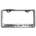 Corvette License Plate Frame - Chrome/Brushed Stainless Steel with Carbon Fiber Lettering : 1997-2004 C5 & Z06