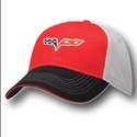 Corvette Hat - Red/Black Twill and Soft Cap with C6 Logo