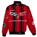 Corvette Twill Jacket w/C6 Emblem / Racing Stripes - Red/Black : 2005-2013 C6
