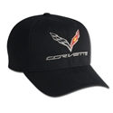 C7 Corvette Logo Flex Fit Pro Performance Fitted Cap : Black - 2014+