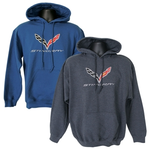 C7 Corvette Embroidered Sweatshirt Hoodie, Blue Grey